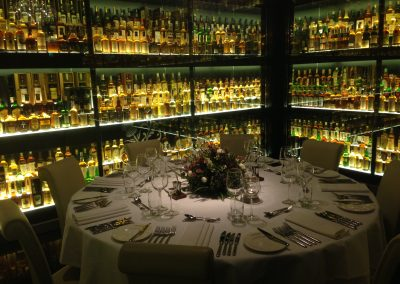 Scotsch Whisky Experience dinner set up